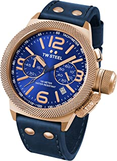 TW STEEL Canteen Unisex Quartz Watch with Blue Dial Chronograph Display and Blue Leather Strap CS63