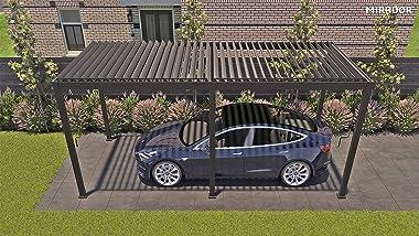 SORARA Outdoor Louvered Pergola 10' × 20' Aluminum Black Outdoor Deck Garden Patio Gazebo with Adjustable Roof