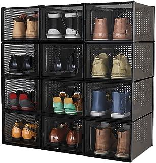 Meerveil Boîtes à Chaussures Empilable, Lot de 12, Rangement Boite Chaussure en Plastique avec Porte, 36x28x21cm, Facile à...