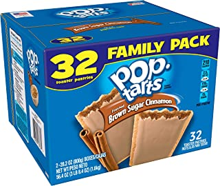 Pop-Tarts Breakfast Toaster Pastries, Frosted Brown Sugar Cinnamon Flavored, Family Pack, 32 Count per pack, 56.4 Ounce