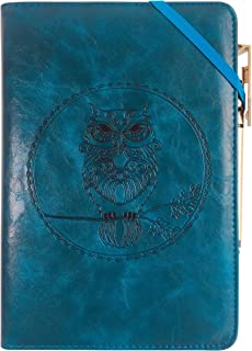 Leather Writing Journal Notebook Gift Set, YANGKUANG Premium PU Leather Embossed Travel Journal Notebook, Mens Journal, Personal Diary, Leather Bound Journal, Refillable, A5 (Blue Owl)