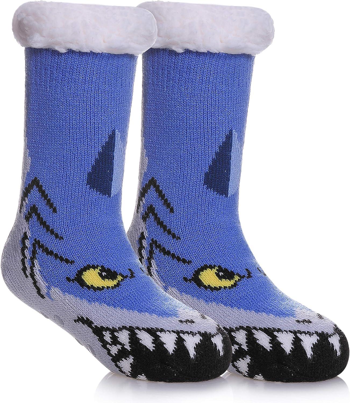 DOSKONI Kids Boys Girls Fuzzy Slipper Socks Children Cute Animal Soft Warm Thick Winter Fleece Lined Non-Skid Home Socks