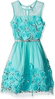 Beautees Girls' Big Sl/Less Illusion Dress with Soutach Top & Hem