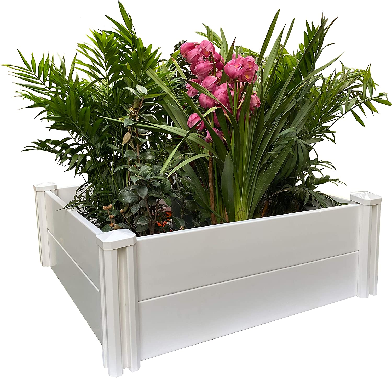 PureZoneA Raised Garden Bed 3' x 3' Vinyl Screwless Planter Box for Gardening, Whelping Pen and More