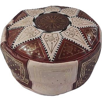 Belle Faite /à la Main en Cuir v/éritable Repose-Pieds Coque /à partir du Maroc Livr/é Vide Pouf Marocain Marron fonc/é avec Point Blanc