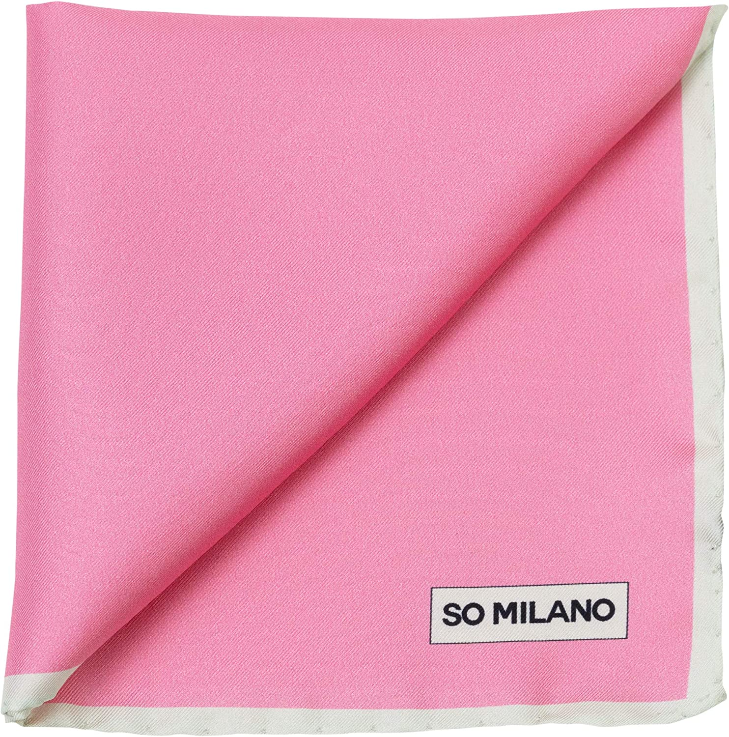 So Milano Silk Pocket Square - Plain with Border - 100% Silk | Hand Rolled | Made in Italy