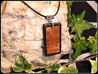 Picture frame design Pendant Necklace in Burr Elm & Irish Bog Oak wood