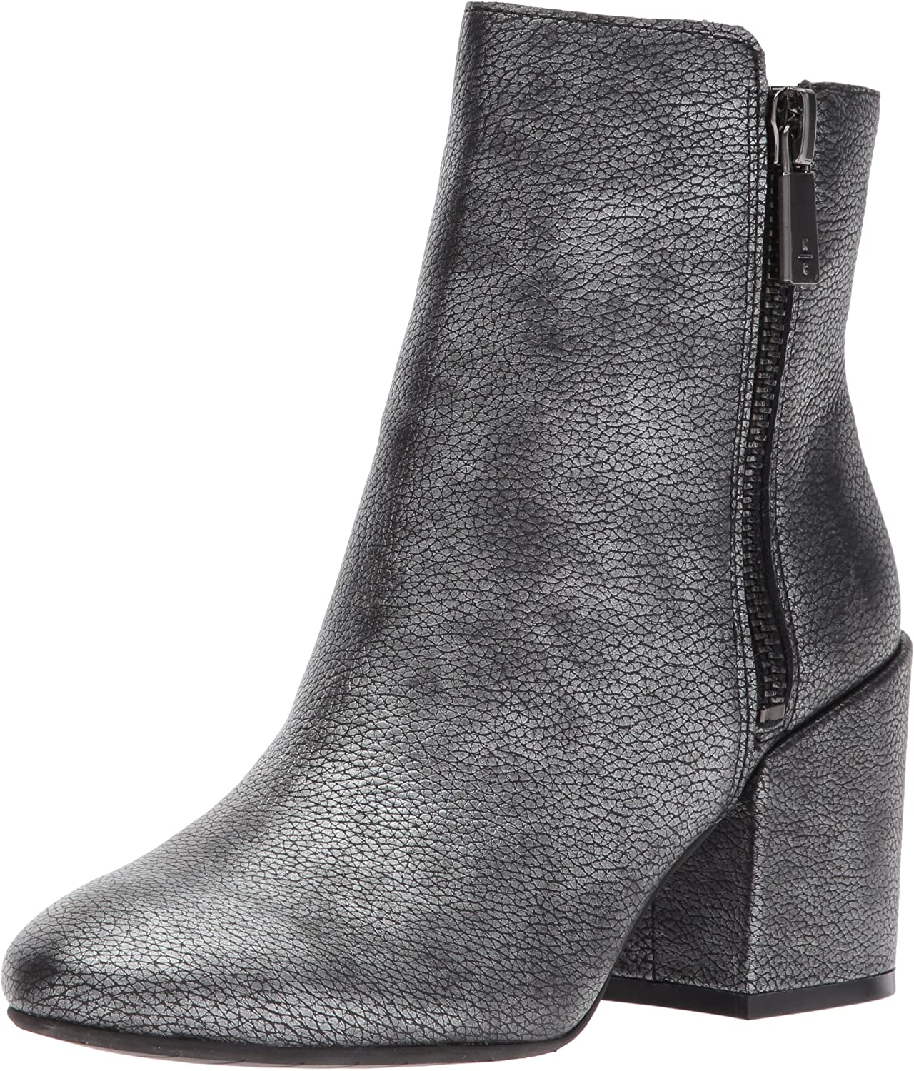 Kenneth Cole New York Womens Rima Bootie with Double Zip Block Heel Leather Boot