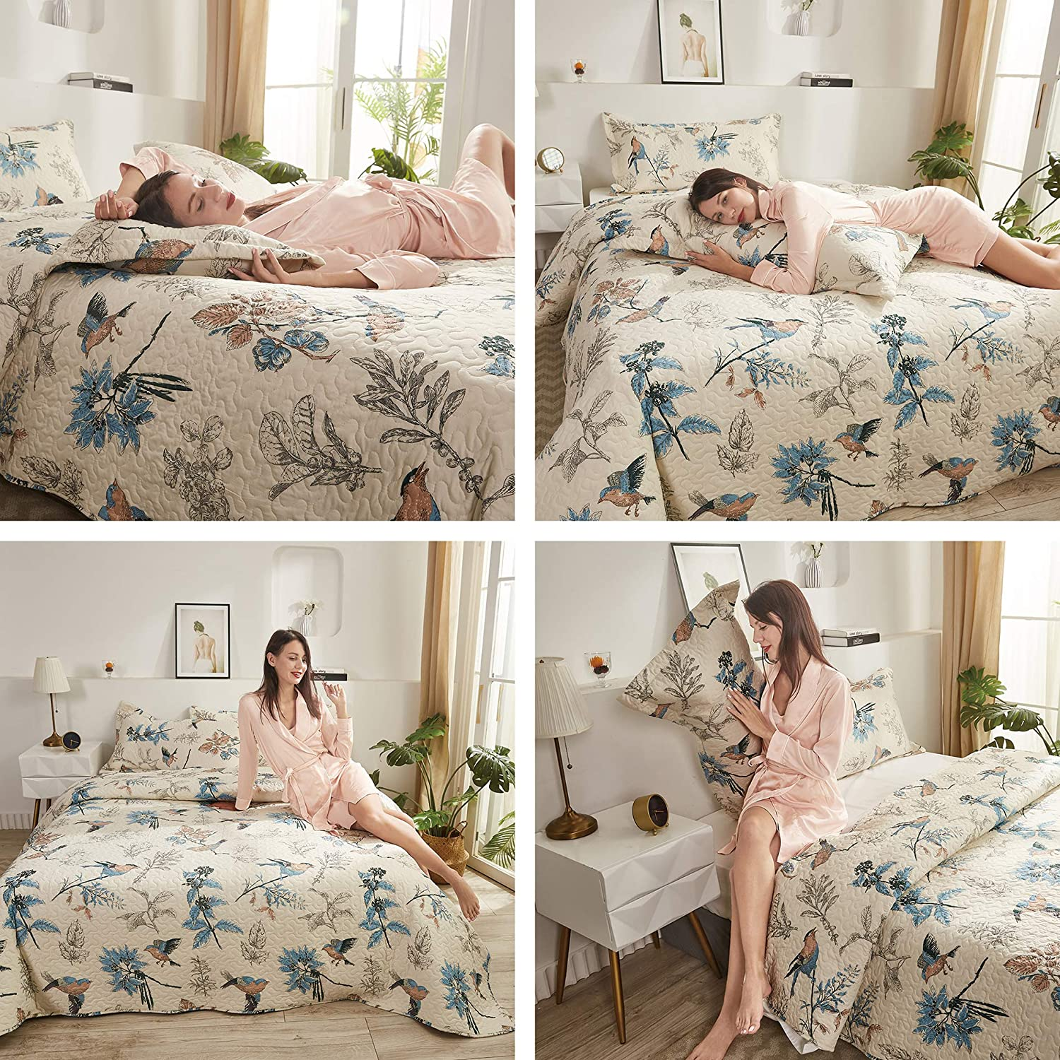 King Size Bedspread Set Jacquard Birds Floral Quilts Coverlet Set King with Queen Pillow Shams,Lightweight Bedspreads Home Decor Holiday Gift-Blue Cream