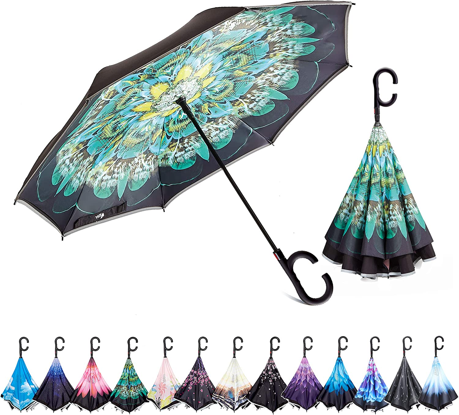 HOSA Reverse Inverted Outstanding Umbrella Night U Strips Reflective Max 45% OFF Safety