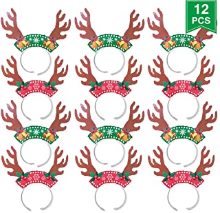 Christmas Reindeer Headband, Christmas Party Decorations Antler Headband Holiday Costume Party Pack of 12Pcs