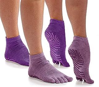 Gaiam Grippy Yoga Socks for Women & Men – Full Toe Non Slip Sticky Grip Accessories for Yoga, Barre, Pilates, Dance, Ballet