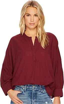 Drew Twill Voile Mandarin Collar Top