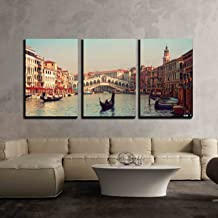 wall26 - 3 Piece Canvas Wall Art - Rialto Bridge and Gondolas in Venice - Modern Home Decor Stretched and Framed Ready to Hang - 24