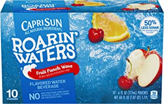 Capri Sun Roarin` Waters Fruit Punch Ready-to-Drink Juice (40 Pouches, 4 Boxes of 10)