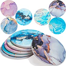 Enkore Absorbent Coasters for Drinks, Marbling with Golden Veins On Large Ceramic Stone with Cork Backing, Drink Spills Co...
