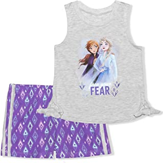 Disney Frozen Girls Sleeveless Top and Shorts Matching Outfit Set