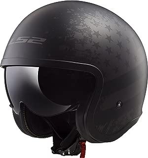 LS2 Helmets Spitfire Bobber Vintage style Open Face Helmet with sun shield (Matte Black Flag, Medium)