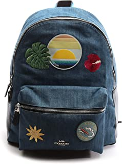 Women's Charlie Hawaiian Patches Denim Blue Backpack