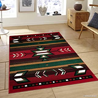 Allstar 8x11 Red and Mocha Southwestern Rectangular Accent Rug with Ivory, Espresso and Hunter Green Aztec Design (7' 6