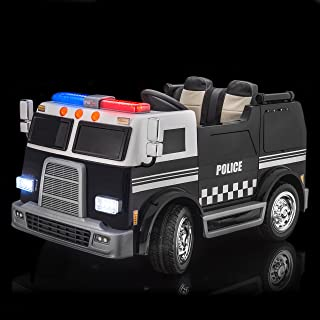 SUPERtrax Big Rig Emergency Kid's Ride On 4 Wheel Drive Police Response Team Electric Toy Car 12V - EVA Foam Rubber Tires, Remote Control, Leather Seat, Free MP3 Player - Black