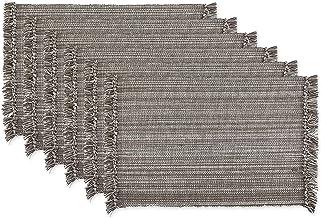 DII 100% Cotton, Tonal Fringe, Variegated, Machine Washable, Everyday Kitchen Basic Placemat, Set of 6, Gray