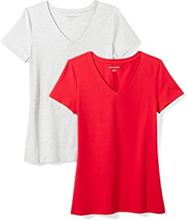 f19c35c21ddc6 Amazon Essentials Women's 2-Pack Classic-Fit Short-Sleeve V-Neck T