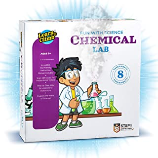 Learn & Climb Science Kits for Kids Age 5 Plus. 8 Chemistry Experiments, Step-by-Step Manual. Gift for Girls & Boys 5,6,7,8