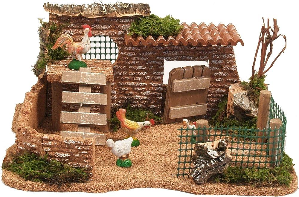 ferrari & arrighetti  pollaio con galline paesaggio del presepe 506g