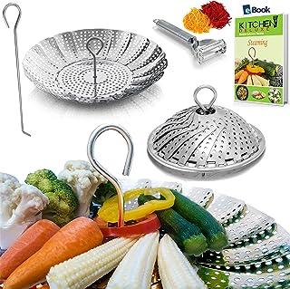 PREMIUM Vegetable Steamer Basket - BEST Bundle - Fits Instant Pot Pressure Cooker 3, 5, 6 Qt & 8 Quart - 100% Stainless Steel - BONUS Accessories - Safety Tool + eBook + Peeler - Insert for Instapot