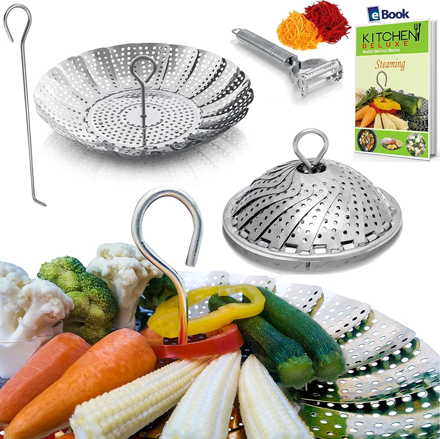PREMIUM Vegetable Steamer Basket - BEST Bundle - Fits Instant Pot Pressure Cooker 3, 5, 6 Qt & 8 Quart - 100% Stainless Steel - BONUS Accessories - Safety Tool + eBook + Peeler - Insert for Instapot