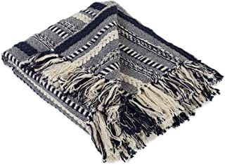 DII Farmhouse Cotton Stripe Blanket Throw with Fringe For Chair, Couch, Picnic, Camping, Beach, & Everyday Use , 50 x 60