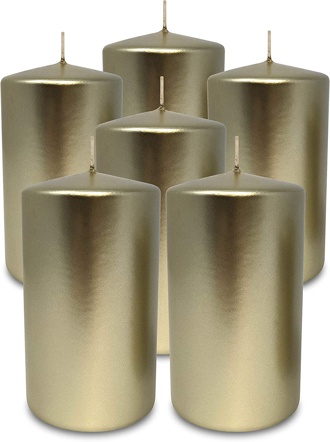 Hyoola Metallic Pillar Candles - Cand Choice Pack Cream 67% OFF of fixed price 6 Gold
