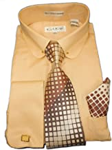 Karl Knox SX4404 Mens Sand Beige Earthtone Round Eyelet Collar French Cuff Woven-Look Dress Shirt + Tie Set