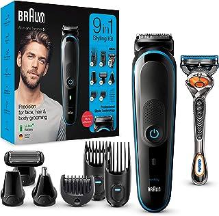 Braun MGK5280 9 en 1 - Máquina recortadora de barba, set de depilación corporal y cortapelos para hombre, color negro/azul...
