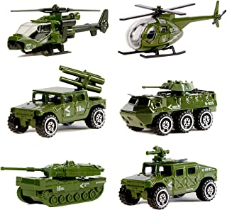Nunkitoy Die-cast Military Vehicles,6 Pack Assorted Alloy Metal Army Vehicle Models Car Toys,Original Color Mini Army Toy Tank,Jeep,Panzer,Anti-Air Vehicle,Helicopter Playset for Kids Toddlers Boys