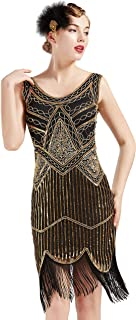 ArtiDeco Damen Pailletten 1920s Kleid Flapper Charleston Kleid V Ausschnitt Great Gatsby Motto Party Damen Fasching Kostüm Kleid