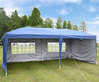 charaHOME 10x20 Canopy Tent Pop Up Portable Shade Instant Folding Heavy Duty Outdoor Gazebo Blue with 4 Removable Sidewalls for Outdoor Party Wedding Commercial Activity Pavilion BBQ Beach Car Shelter