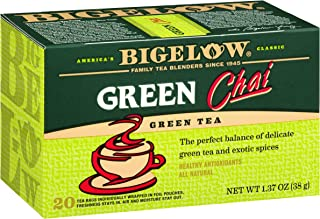 Bigelow Green Tea Chai Boxes  20 Count (Pack of 6), 120 Tea Bags Total.  Caffeinated Individual Green Tea Bags, for Hot Tea or Iced Tea, Drink Plain or Sweetened with Honey or Sugar