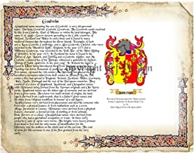 Godwin Coat of Arms/ Family Crest on Fine Paper and Family History Buy 1 get 1 FREE