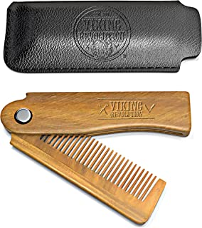 Folding Beard Comb w/Carrying Pouch for Men - All Natural Wooden Beard Comb w/Gift Box - Green Sandalwood Comb for Grooming & Combing Hair, Beards and Mustaches by Viking Revolution