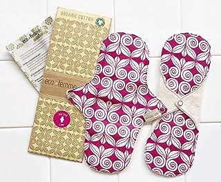 普通の日用2枚セット 南インド「Eco Femme」布ナプキン 洗えるオーガニックコットン(肌面無漂白)防水あり・内側に5層のフランネル使用