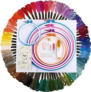 Fuyit Embroidery Starter Kit Stickpackung mit Kreuzstichwerkzeug 72 Farben Stickgarn, 5 Stück Kunststoff-Stickrahmen, 45 x 30 cm, 14 Stück Classic Reserve Aida