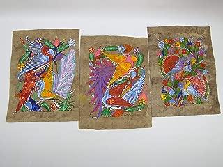 3 AMATE BARK PAINTING SET native ethnic mexican hanging folk art 11