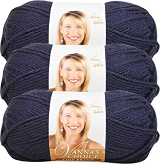 (3 Pack) Lion Brand Yarn 860-110 Vanna's Choice Yarn, Navy
