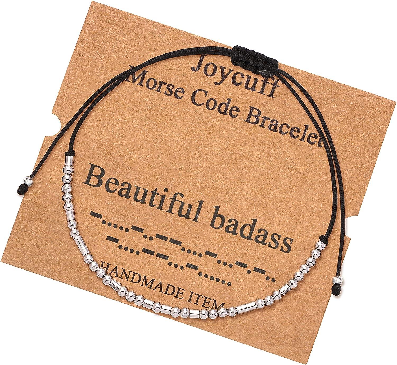 JoycuFF Morse Code Inspirational Encouragement Bracelets for Women Funny Jewelry Gifts for Teen Girls Daughter Sister Best Friend Friendship Adjustable Dainty Silk Beaded Wrap Bracelet