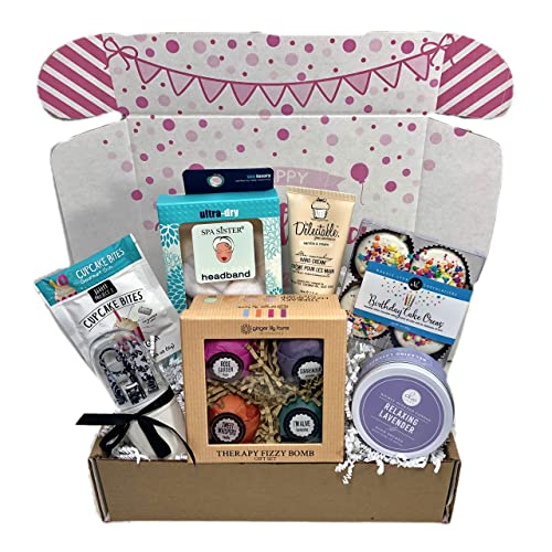 Spa Bath Bomb Birthday Theme Gift Basket Box Her Women Mom Aunt