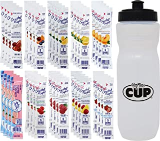 Crystal Light Drink Mix Packets, 40 Count, 10 Flavor Variety with By The Cup Sports Bottle