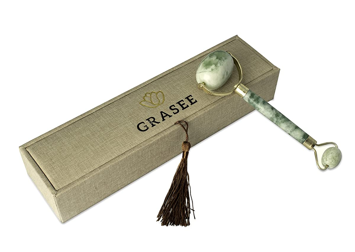 Grasee Jade Stone Roller - All Natural Wrinkle, Lines and Pore Reducer - Dual Sided Slimming Massager for Face, Neck and Eyes – Anti Aging Mineral Skin Care - Beautiful Gift Box Packaging