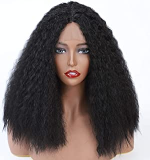 Kinky Curly Wigs Lace Front Synthetic Afro Wig Heat Resistant Fiber Flexible Yaki Texture Realistic Looking Wig for Black Women Natural Black 14 Inches
